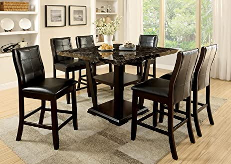 Incroyable Furniture Of America Alfaro 7 Piece Modern Faux Marble Top Pub Dining Set