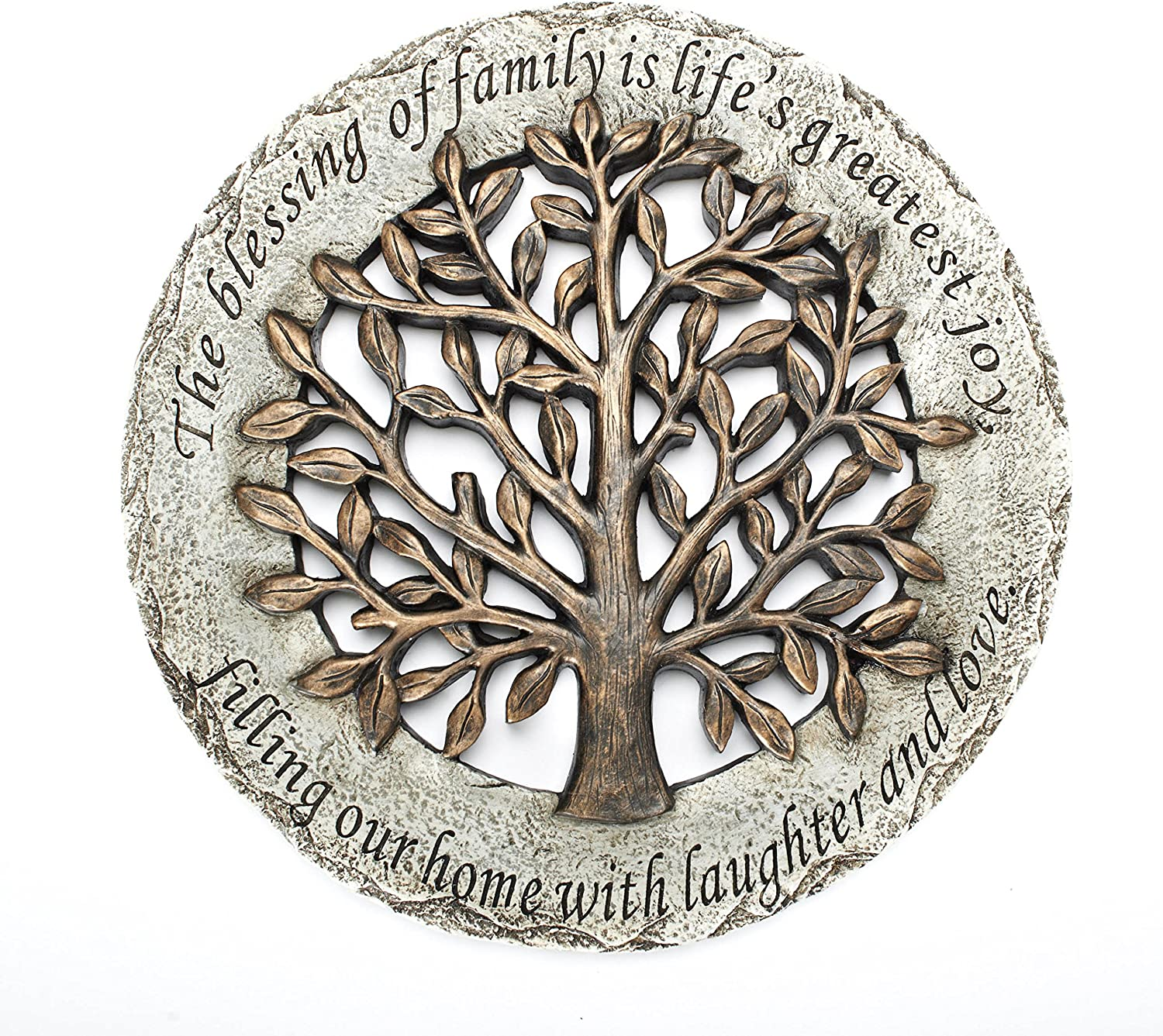 Roman Exclusive Terrace Garden Stone with a Tree and Verse, 12.2-Inch, 2-Tone Dolomite/Resin : Garden & Outdoor