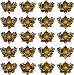Indian Diwali Oil Lamp Pooja Diya Brass Light Puja Decorations Mandir Decoration Items Table Home Backdrop Decor Lamps Made in India Decorative Wicks Diyas Lotus Kamal Laxmi Vilakku Set of 20 - Gold