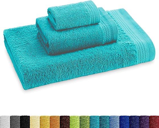 Eiffel Textile Juego de Toallas Calidad Rizo 600 gr, Algodón Egipcio 100%, Aguamarina, Tocador Lavabo y Ducha, 3 Unidades: Amazon.es: Hogar