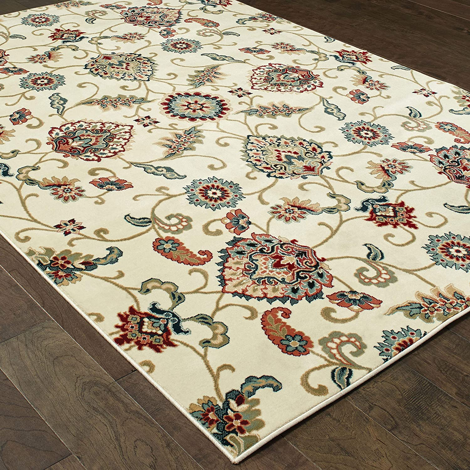 Christopher Knight Home CK-W6499 Kingsley Floral Indoor Area Rug 7ft 10in X 10ft 10in Ivory Multi