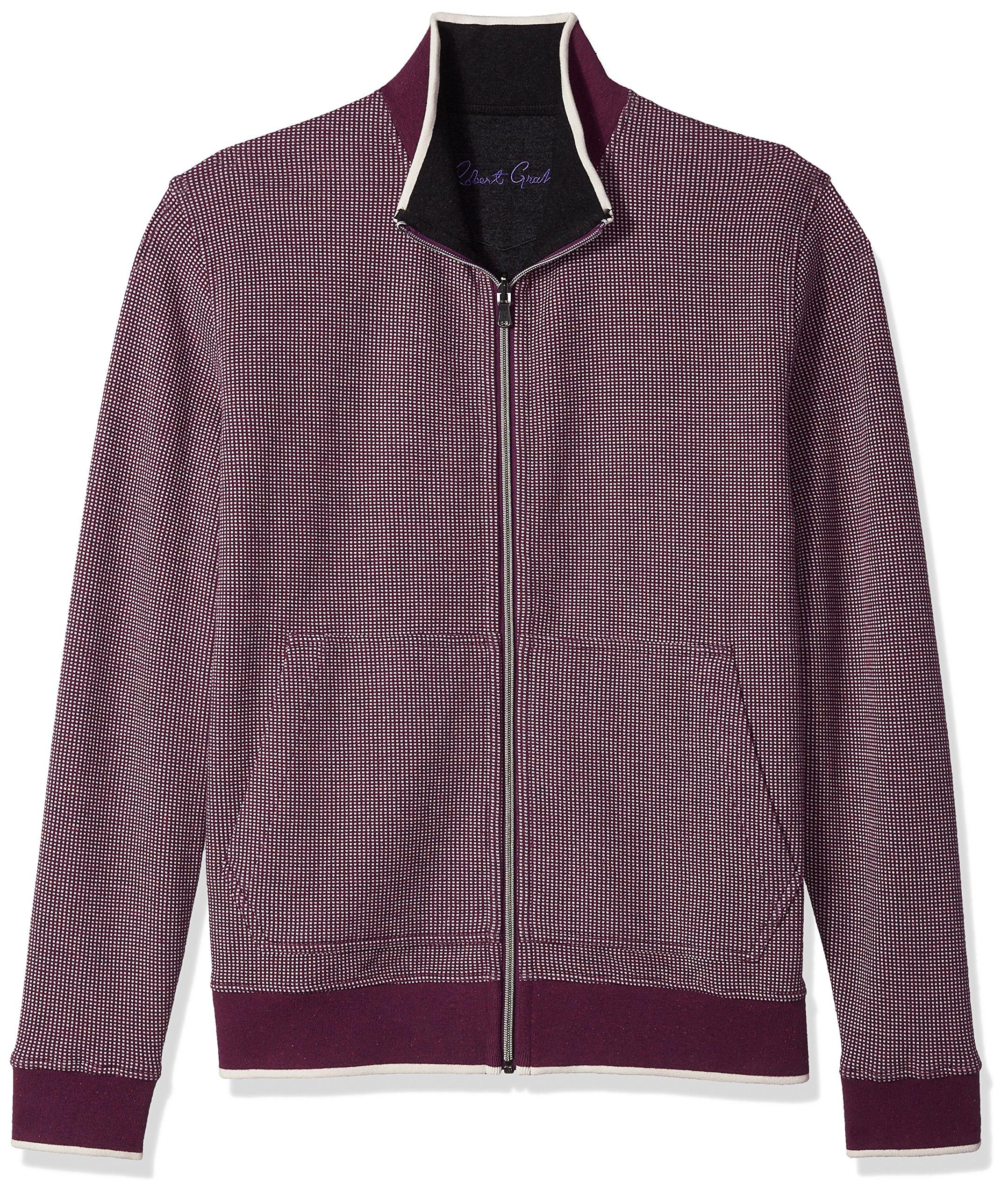 Robert Graham Men's Rivers Cotton Reversible Full Zip Knit, Purple, XLarge