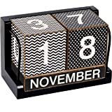NIKKY HOME Shabby Chic Wave and Spot Perpetual Desk Calendar Wood Blocks 6.9 x 3.5 x 4.5 Inches, Black