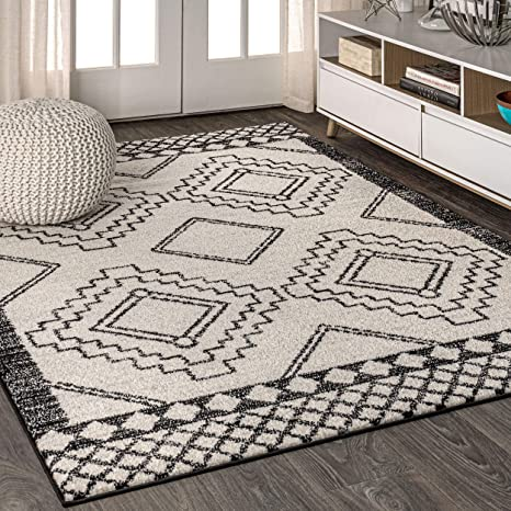 Amazon Com Jonathan Y Amir Moroccan Beni Souk Bohemian Easy Cleaning For Bedroom Kitchen Living Room Non Shedding Area Rugs 8 X 10 Cream Black Furniture Decor
