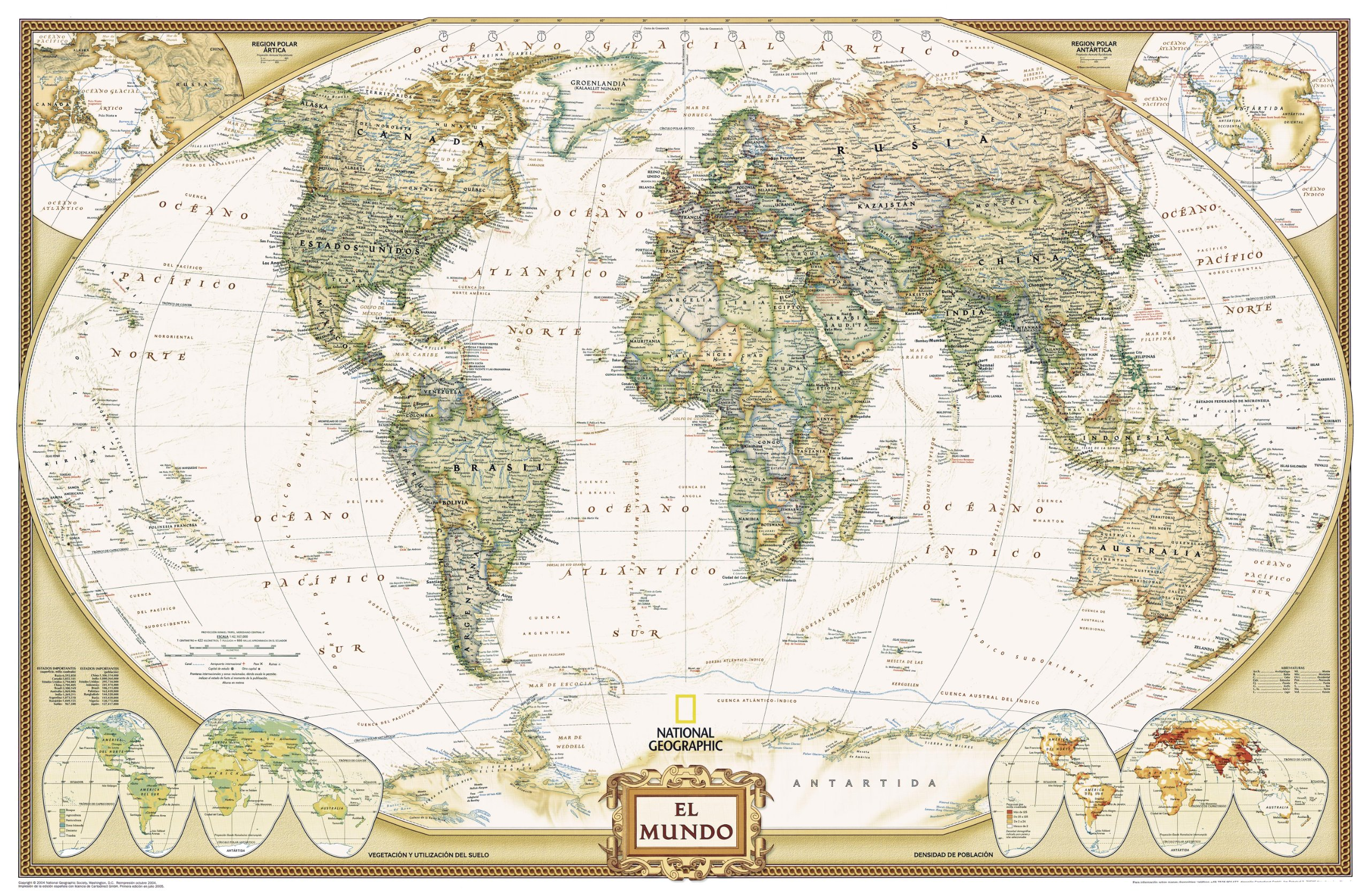 Spanish Speaking World Map.World Executive Spanish Language Edition Wall Map Tubed Reference