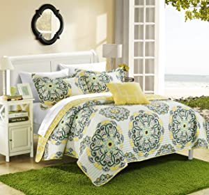Chic Home Madrid 4 Piece Reversible Quilt Set, Full/Queen, Yellow