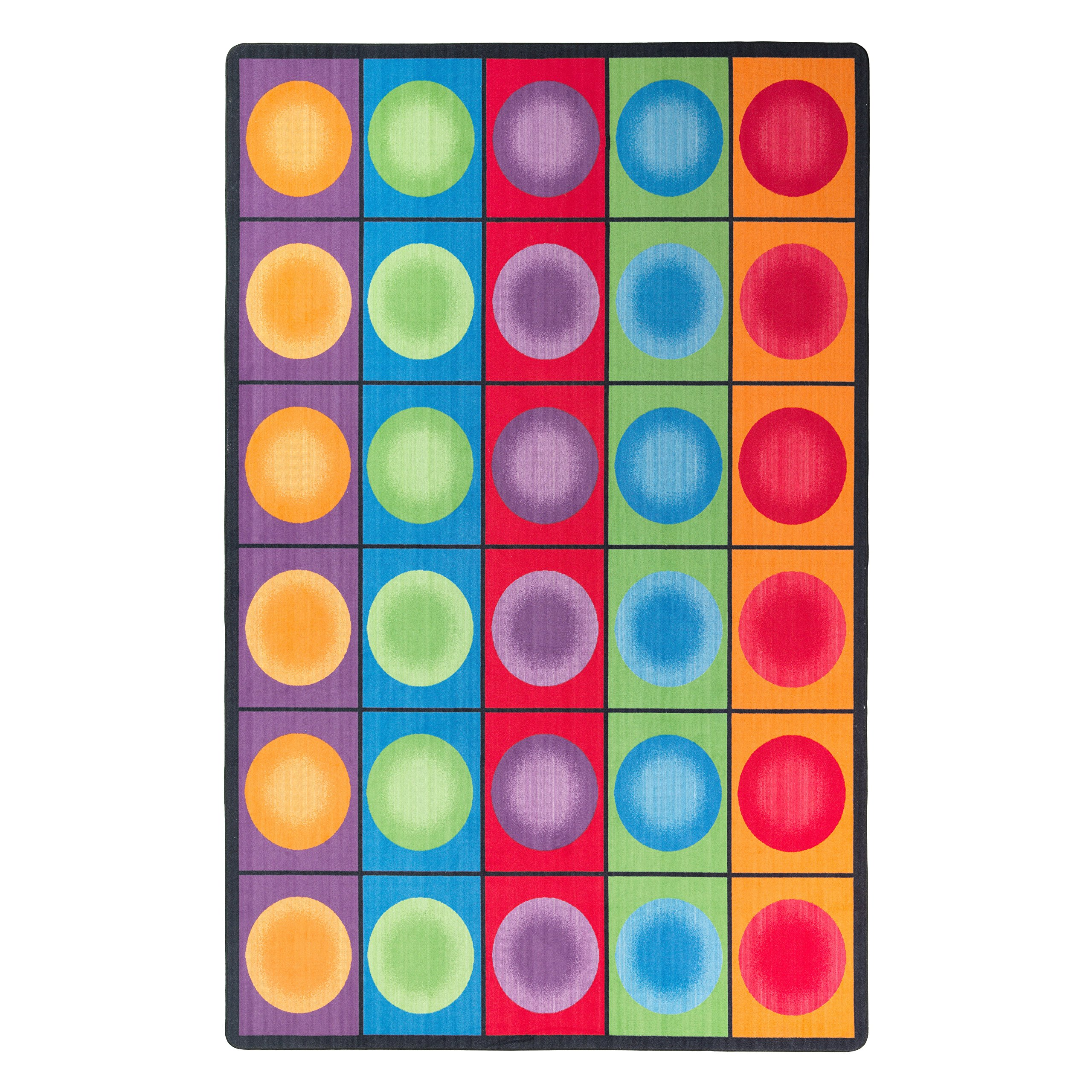 Flagship Carpets FE118-44A Dot Spots Seating Rug, Everyone Has a Spot on This Colorful Design, 7'6'' x 12' Seats 30, 90'' Length, 144'' Width, Multi-Color by Flagship Carpets