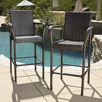 Great Deal Furniture (Set Of 2) Stewart Outdoor Brown Wicker Barstool