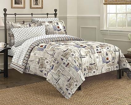 Free Spirit Cape Cod Seaside Sailing Nautical Bedding Comforter Set,  Multi Colored, Queen
