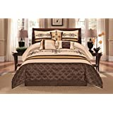 7 Pieces Complete Bedding Ensemble Beige Brown Gold Luxury Embroidery Comforter Set Bed-in-a-bag Bedding- Yasmen King