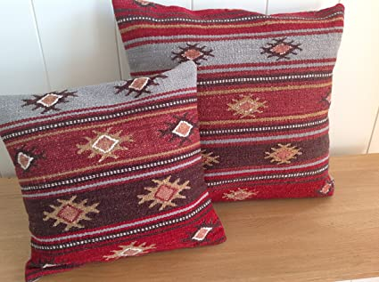 Comercio justo Karsha Kilim cojín 45 cm - rayas multicolor ...