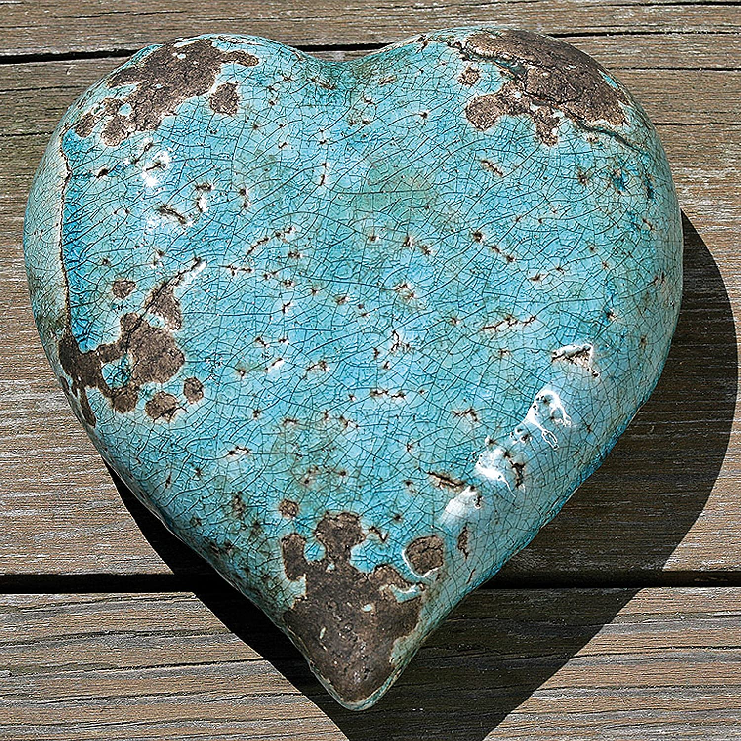 Distressed Blue Turquoise 14 and 10 Inch Diameter COMINHKPR146514 Artisinal Design Crackled Glaze Over Terracotta WHW Whole House Worlds Beach Chic Decorative Plates