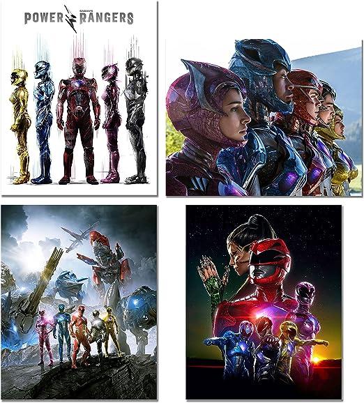 Superhero Mighty Morphin Power Rangers Poster Starry Night Wall Decor Print A080
