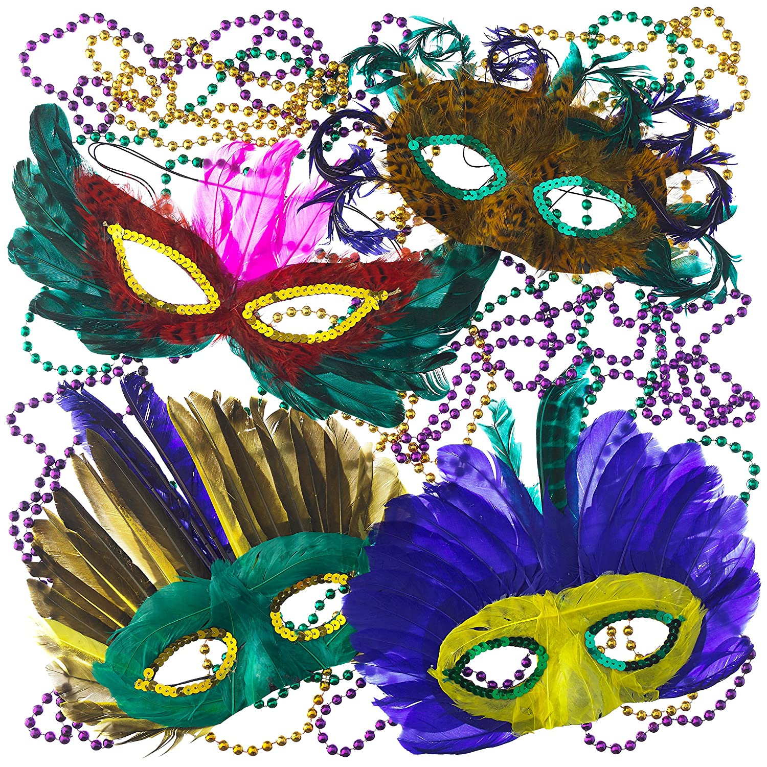 amazon com mardi gras beads u0026 feather masks party pack toys u0026 games