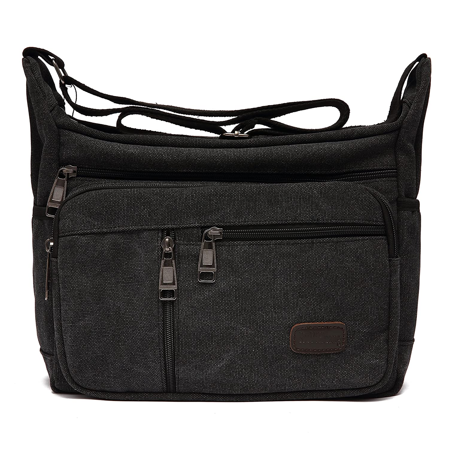 Black-2 Mlife Brand Men Canvas Messenger Bag with Multi Pockets