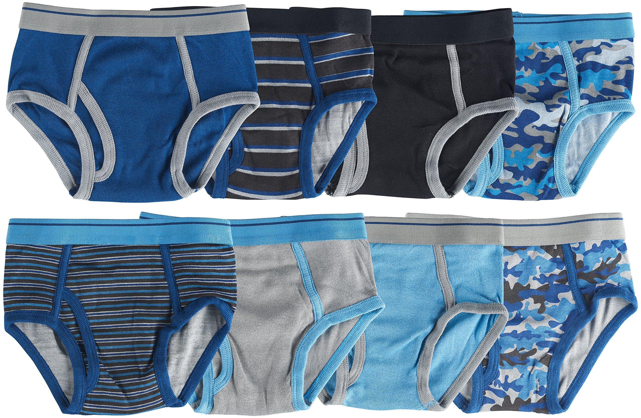 Trimfit Boys 100% Dinosaur Sports Camo Briefs 8-Pack Blue/Grey Multi Color S (4-6) by Trimfit