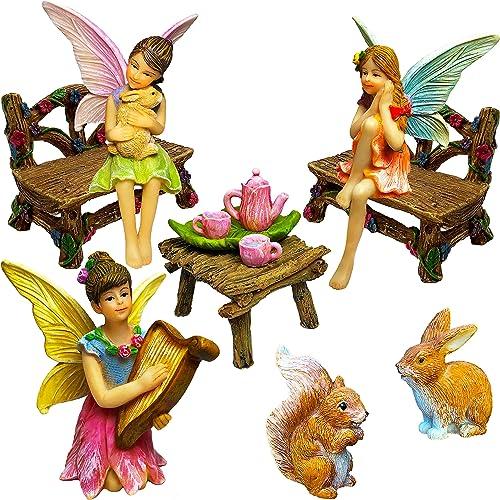 Mood Lab Fairy Garden – Miniature Figurines and Accessories Starter Kit – Fairy Garden Set of 12 pcs