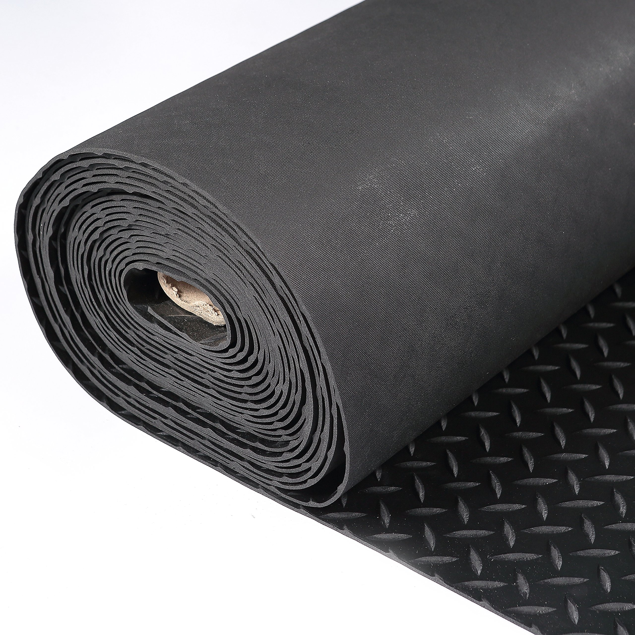 Hefty Mat Anti-Slip Rubber Sheet roll with Diamond Sheet for Operation Platform,Passage,Storage Ground,Power Station,Road and Bridge, Black, 3.2 feet ×16 feet ×1/10 inch by Hefty Mat (Image #2)
