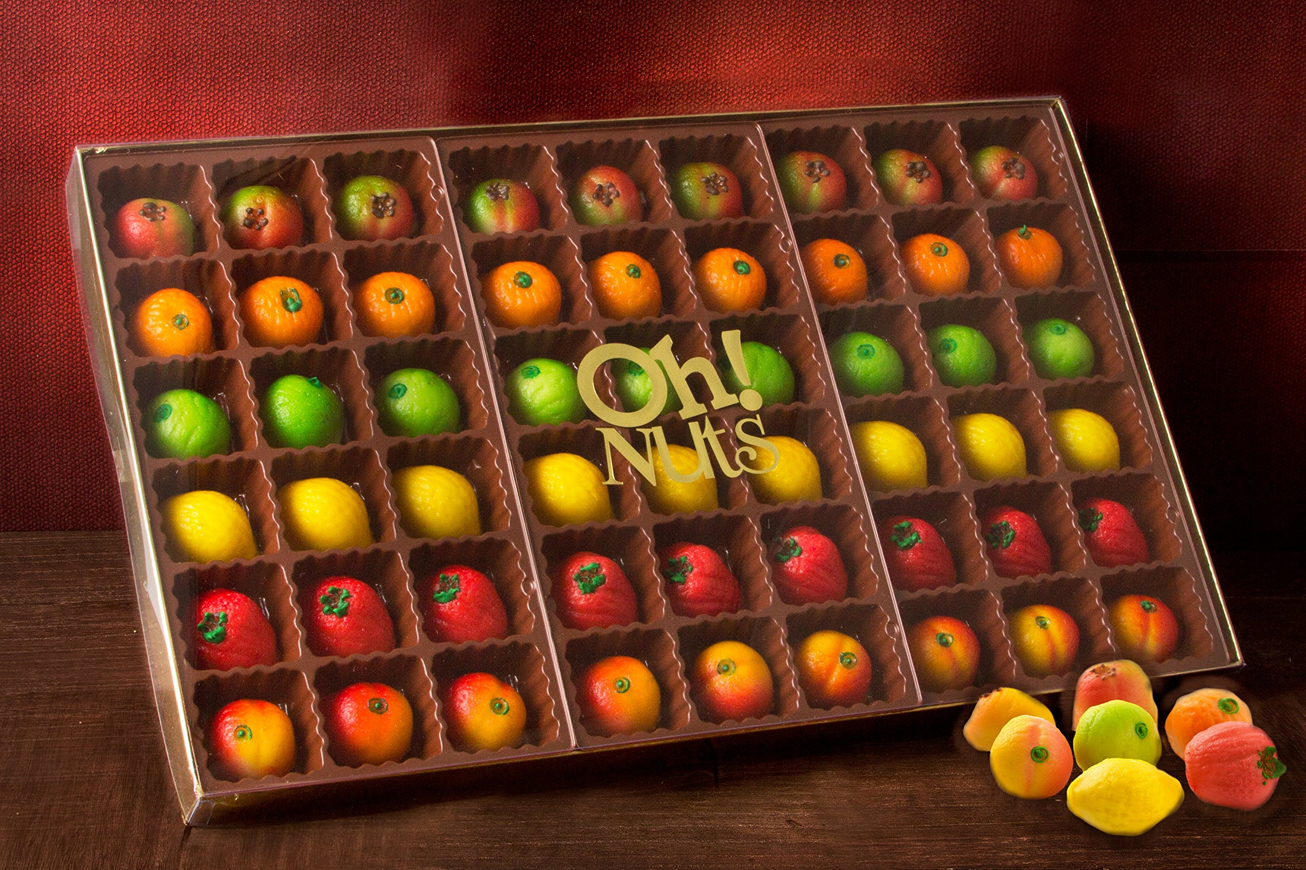 Oh! Nuts® Marzipan Candy Fruits, Holiday Gourmet Marzipans Tray in an Elegant Gift Box, Unique Basket for Women & Men Alike, Send it For Thanksgiving, Christmas Gourmet Food Idea (54 Piece) by Oh! Nuts® (Image #5)