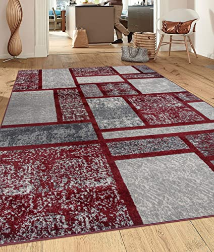 Rugshop Contemporary Modern Boxes Design Area Rug 9' x 12' Red