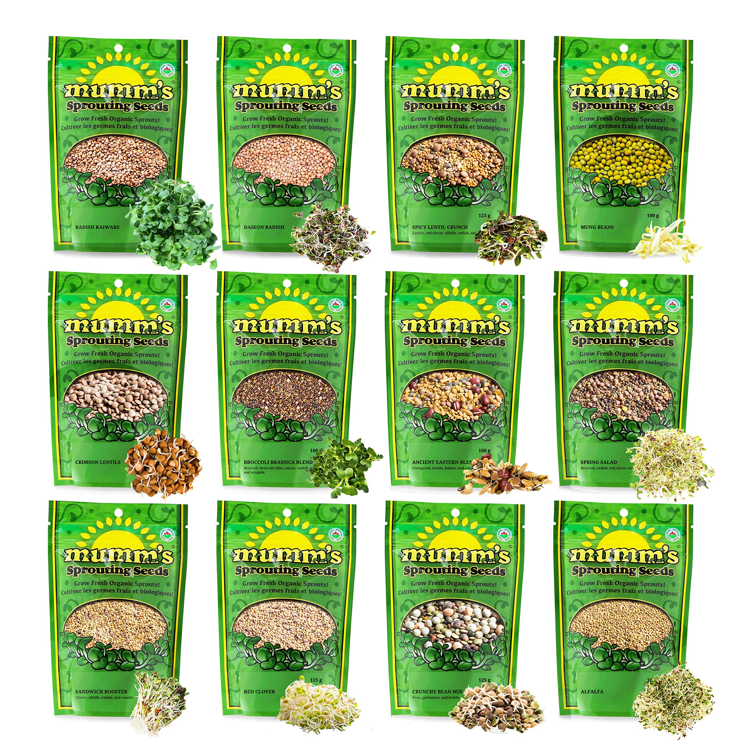 Mumm's Sprouting Seeds - Boosted Sample Pack - 1,325 GR - Organic Sprout Seed Kit - Broccoli, Radish, Alfalfa, Mung Bean by Masontops