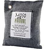 Moso Natural Air Purifying Bag. Odor Eliminator for Cars, Closets, Bathrooms and Pet Areas. Captures and Eliminates Odors. Charcoal Color, 200-G