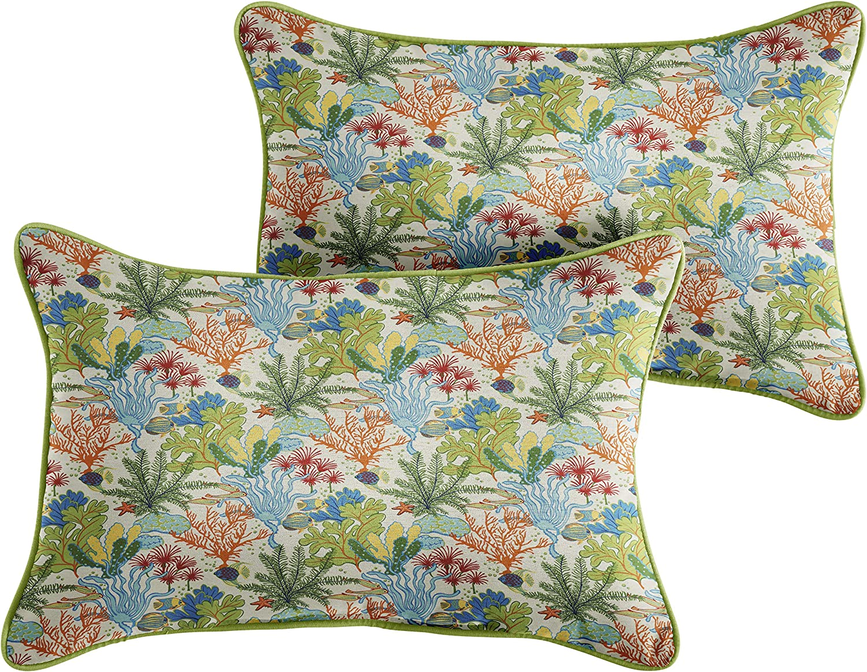 Mozaic AMZ638811SP Lumbar Pillow, Blue Green Seascape with Apple Green