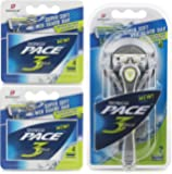 Dorco Pace 3 Plus Manual Razor for Men: Three-Blade Technology - Pivoting Head for Maximum Coverage - Lubrication Strip with Vitamin E and Aloe Vera (10 Blade)