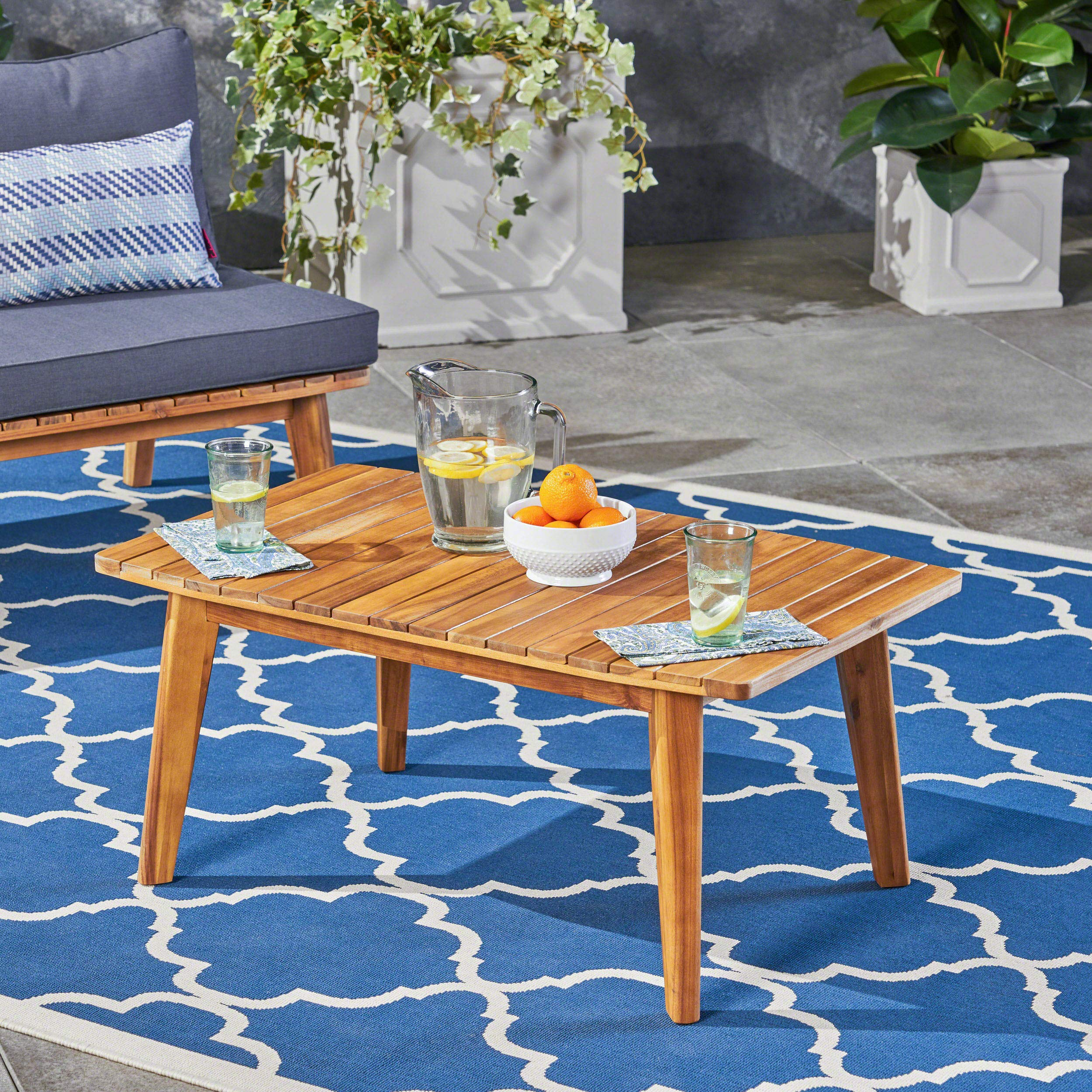 Great Deal Furniture Boyle Outdoor Acacia Wood Coffee Table, Teak Finish