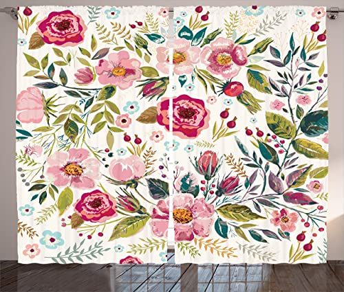 Ambesonne Floral Curtains, Shabby Form Flowers Roses Petals Dots Leaves Buds Spring Season Theme Image Artwork, Living Room Bedroom Window Drapes 2 Panel Set, 108 X 90 , Magenta