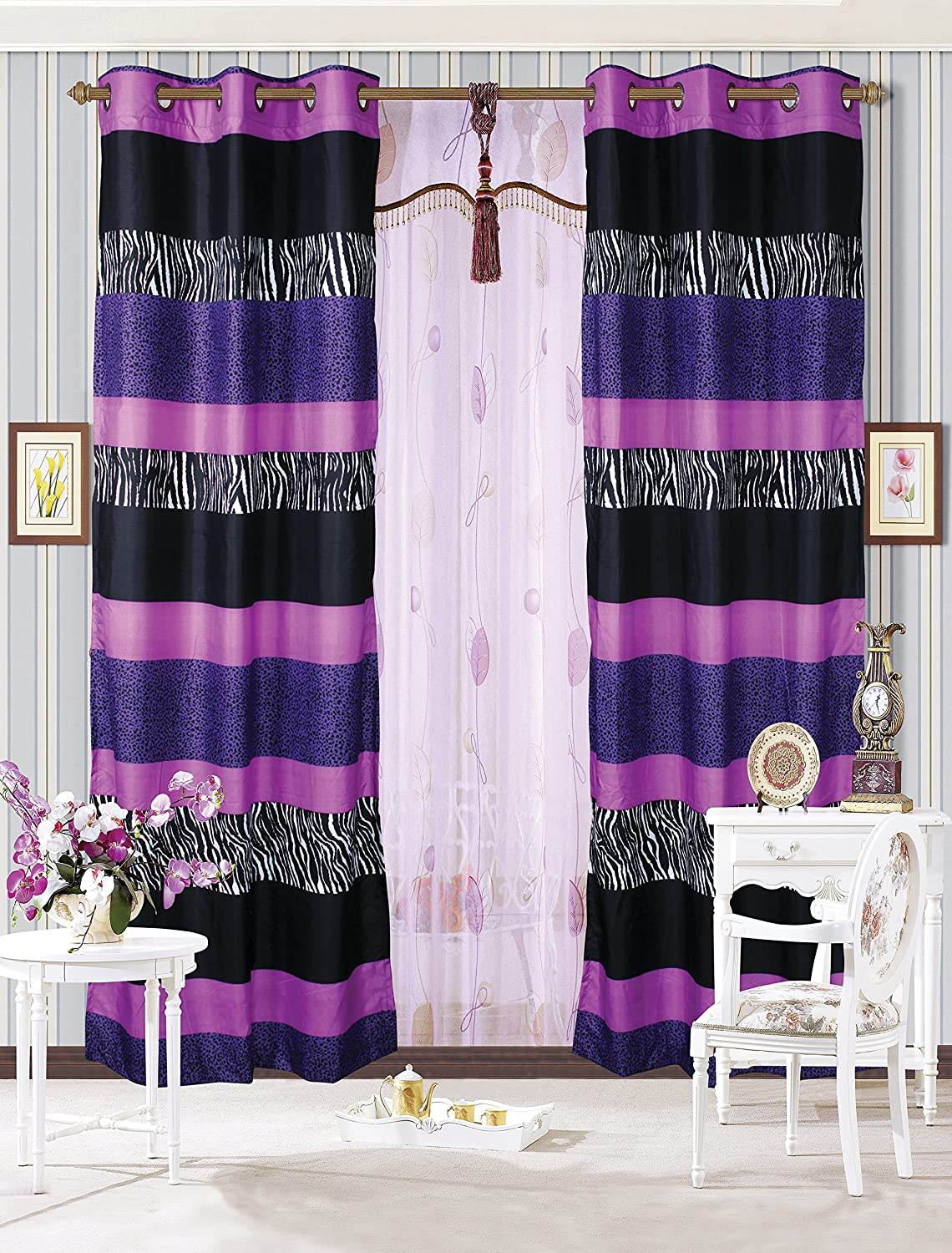 Mk Collection 2 Panel Curtains Teens/girls Zebra Leopard Purple Pink White Black MK Home