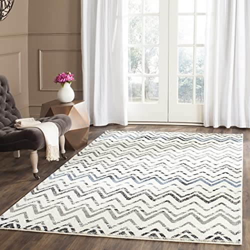 Safavieh Evoke Collection EVK498D Vintage Chevron Cream and Blue Area Rug 8 x 10