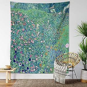 Vintage Landscape Tapestry Botanical Wall Hanging Forest Meadow Animal Retro Nature Art Jungle Hippie Meditation Bohemian Decor (Klimt Garden, 51
