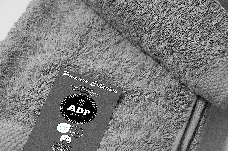 ADP Home - Juego de Toallas 550 Grms 3 Piezas (Toalla Ducha/Baño, Lavabo/Mano, Tocador) 100% Algodón Peinado - Color: Gris: Amazon.es: Hogar