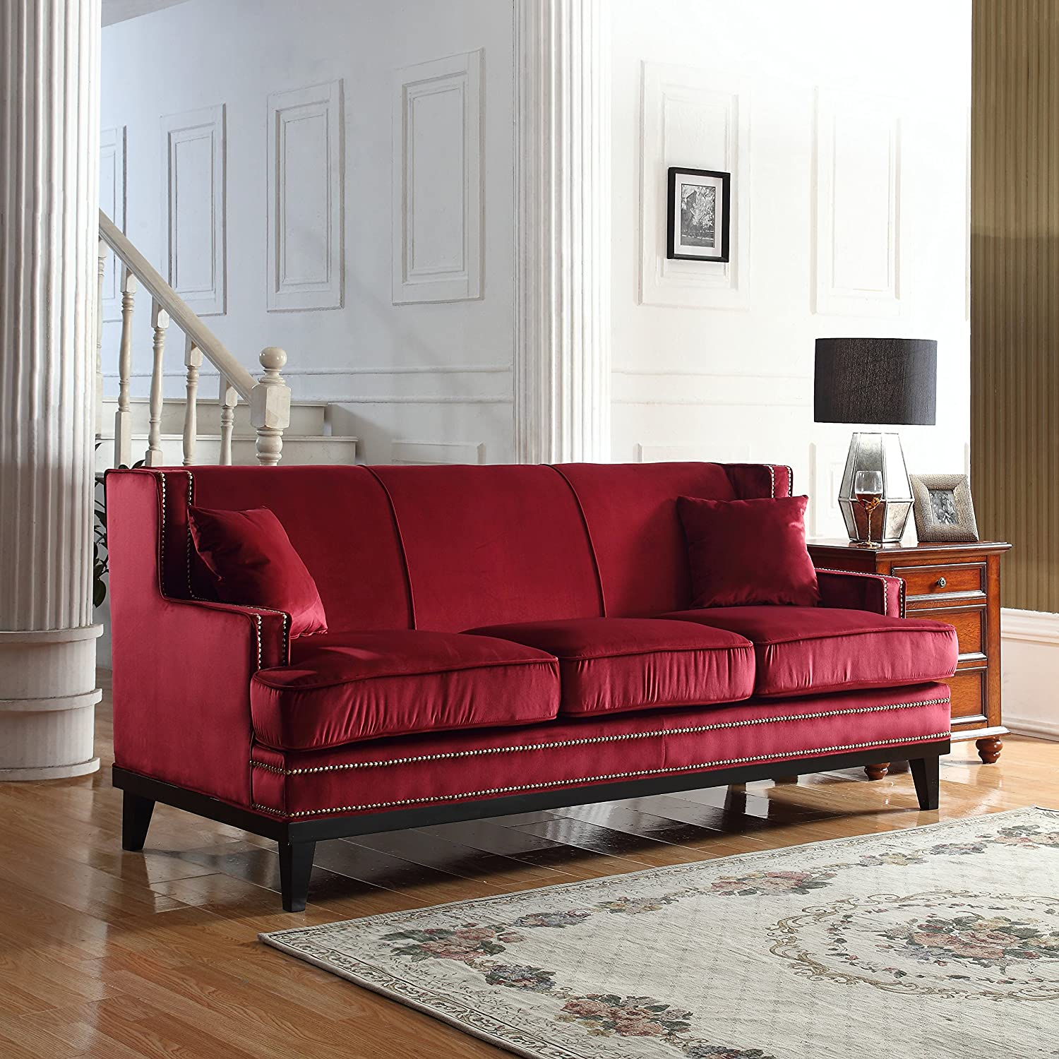 Amazon.com: Divano Roma Furniture Modern Soft Velvet Sofa With Nailhead  Trim Detail (Red): Kitchen U0026 Dining