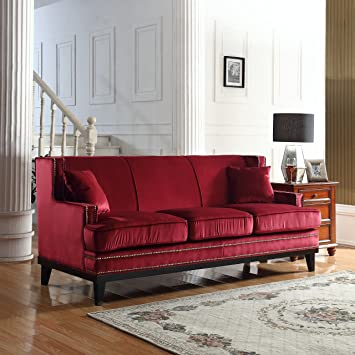 Amazon.com: Modern Soft Velvet Sofa with Nailhead Trim Detail (Red ...