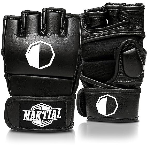 MARTIAL MMA Handschuhe mit hochwertiger Polsterung! Boxhandschuhe für hohe Stabilität im Handgelenk. Freefight Gloves mit lan