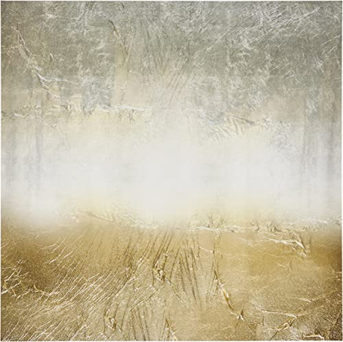 Amazon Brand Stone Beam Abstract Grey and Gold Print on Canvas Wall Art