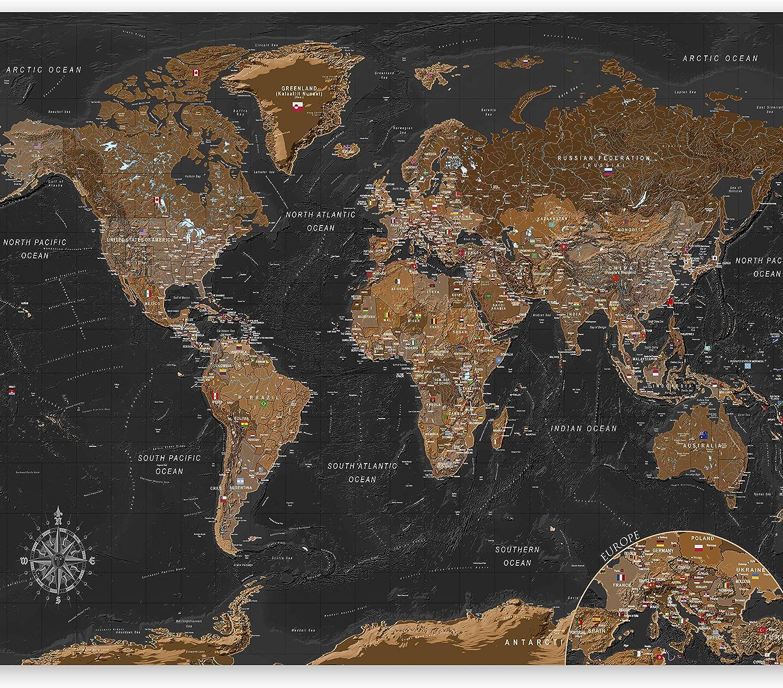murando Carta da parati Mappa del mondo 400x280 cm Fotomurali in TNT Murale alla moda Decorazione da Muro XXL Poster Gigante Design Carta per pareti k-A-0380-a-a