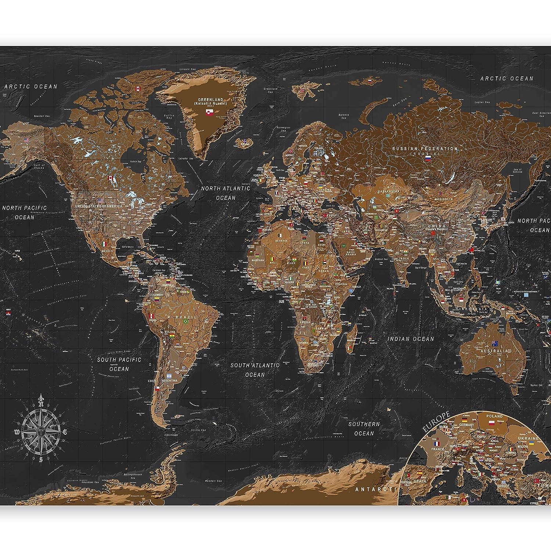 papier peint mural decoratif cuisine et salon feuille autocollante murando tapisserie murale autocollante Papier peint adhesif Carte du monde 392x280 cm Monde k-A-0206-a-a