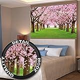 Papel pintado fotográfico que muestra un bosque con cerezos - imagen mural y papel pintado de la primavera de color rosa - decoración mural de arboles y bosque by GREAT ART (140 x 100 cm)