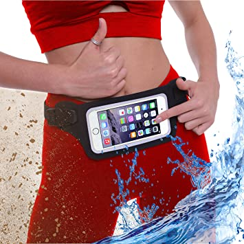 Waterproof Running Swimming Belt Fanny Pack fits iPhone 6 7 8 X 11 12 Plus & Android Samsung - W/Touchscreen Cover - IPX8 Rated Dry Waist Bag Pouch for OCR, Ski, Beach, Pool, Kayaking, Rafting, etc!
