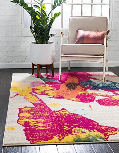 Unique Loom Estrella Collection Colorful Abstract Multi Area Rug 5 0 x 8 0