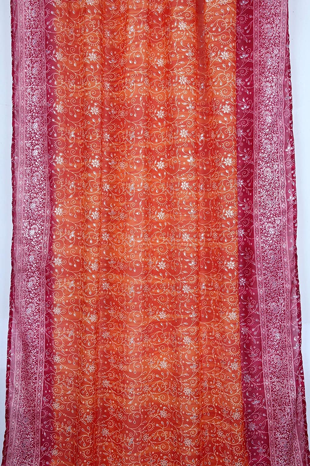 Colorful Window Treatment Draperies Indian Sari panel 108 96 84 inch for bedroom living room dining room kids yoga studio canopy boho tent FREE GIFT Silk bag Rust Orange Curtain Magenta Pink accents