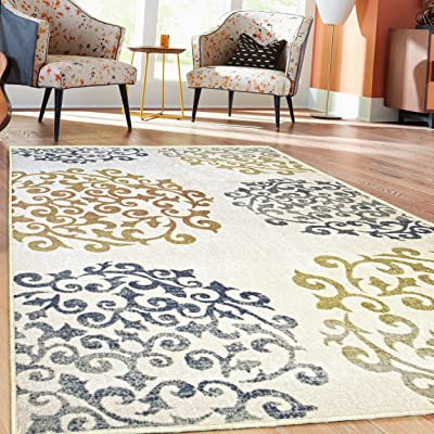 Superior's Designer Non-slip Amber Area Rug; Digitally Printed, Low Maintenance, Affordable and Fashionable, Ivory - Runner