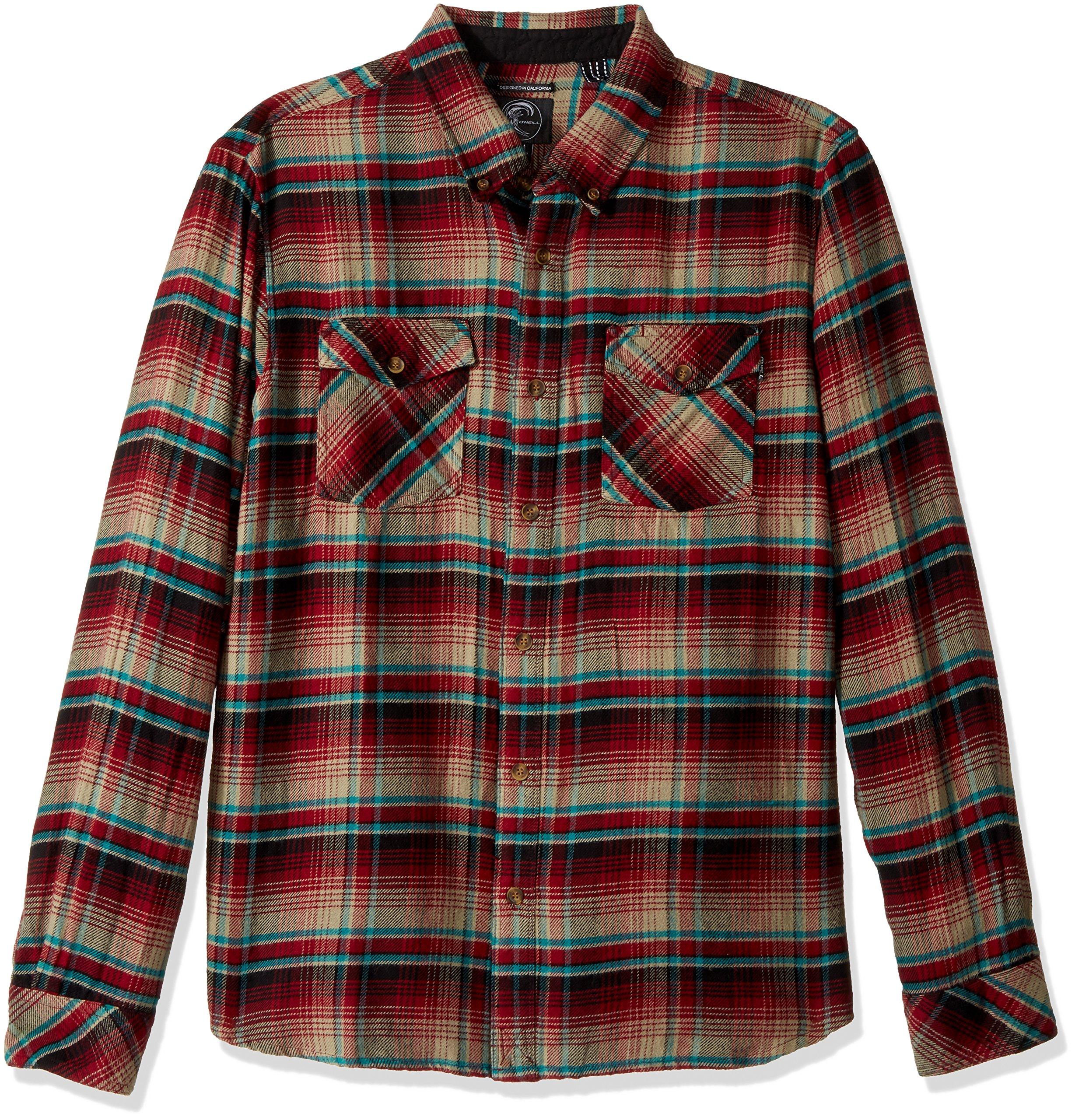 O'Neill Men's Butler Flannel Button up Shirt, Crimson, Small