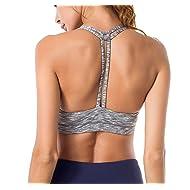 Queenie Ke Women's Light Support Cross Back Wirefree Pad Yoga Sports Bra Size M Color Light Grey Space Dye