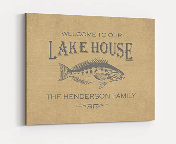 Amazon.com: Custom Family Name Canvas Sign, Personalized Lake House ...