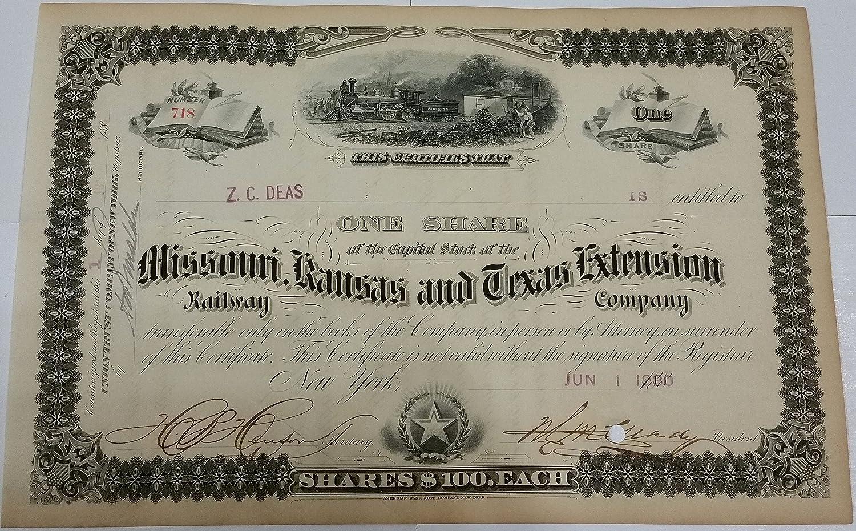 Kansas and Texas Railway Company Stock Certificate Missouri