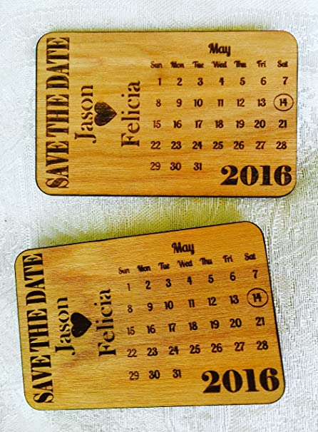 25 Save the Date Personalized Wood Engraved Cards in